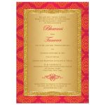 Pink and orange damask engagement invitation with gold glitter and scroll
