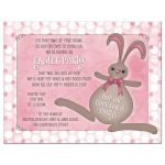 ​Bunny rabbit and polka dots pink Easter party invitation