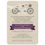 Wedding Invitation -  Plum Tandem Bicycle