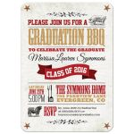 Graduation Party Invitation - Rustic BBQ Pig and Cow Tan Red