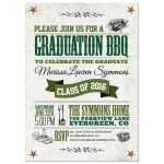 Graduation Party Invitation - Rustic Vegetarian Vegan BBQ Green Brown