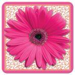 Hot pink and bright orange floral gerber daisy flower bridal shower invitation front