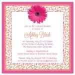 Hot pink and bright orange floral gerber daisy flower bridal shower invitation back