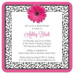 Hot pink, black, and white floral gerber daisy flower bridal shower invitation back
