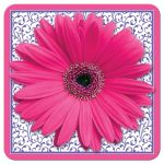 Hot pink and purple floral gerber daisy flower bridal shower invitation front