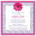 ​Hot pink and purple floral gerber daisy flower bridal shower invitation back