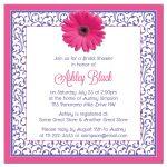 Hot pink and purple floral gerber daisy flower bridal shower invitation back