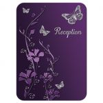 Plum, purple, and grey wedding reception enclosure cards with silver butterflies and flowers