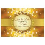 Save the Date Postcard - Golden Anniversary Bokeh Medallion