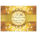 Anniversary Party Invitation - Golden Anniversary Bokeh Medallion