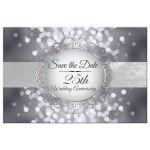Save the Date Postcard - Silver 25th Anniversary Bokeh Medallion