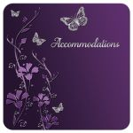 Plum, purple, and grey wedding accommodations enclosure cards with silver butterflies and flowers