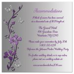 Affordable purple and silver gray floral wedding enclosure card insert with butterflies
