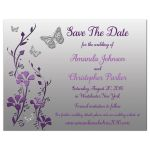 Affordable purple and silver gray floral wedding save the date card with buttterflies