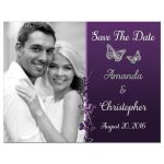 Plum, purple, and grey wedding save the date photo card with silver butterflies and flowers