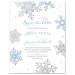 Blue, silver gray and white snowflake flourish winter wedding save the date invitation front