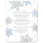 Blue, silver gray and white snowflake flourish winter wedding accommodations insert card front