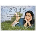Silver Glittery Sparkles Photo Graduation Party Invitation