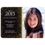 Gold Glittery Sparkles Photo Graduation Party Invitation