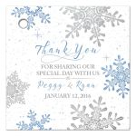 Blue, silver gray white snowflake flourish winter wedding personalized favor tags front