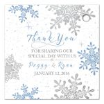 Blue, silver gray white snowflake flourish winter wedding personalized favor tags back
