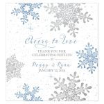 Blue, silver gray and white snowflake flourish winter wedding wine bottle labels