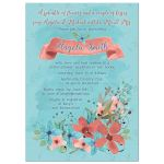 ​marsala and turquoise watercolor wildflower floral bridal shower invitation front