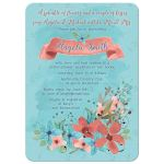marsala and turquoise watercolor wildflower floral bridal shower invitation front