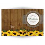 Thank You Card - Rustic Watercolor Sunflowers and Lace Wedding