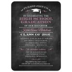 Graduation Party Invitation - Black Chalkboard and Mortarboard Decorative