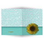 Teal Sparkly Glitter Polka Dots With Sunflower Blank Note Card
