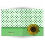 Green Sparkly Glitter Polka Dots With Sunflower Blank Note Card