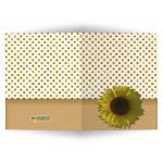 Gold Sparkly Glitter Polka Dots With Sunflower Blank Note Card