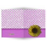 Pink Sparkly Glitter Polka Dots With Sunflower Blank Note Card