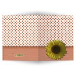 Peach Sparkly Glitter Polka Dots With Sunflower Blank Note Card