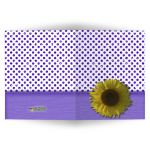 Purple Sparkly Glitter Polka Dots With Sunflower Blank Note Card