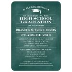 Graduation Party Invitation - Aqua Chalkboard and Mortarboard Simple Stars