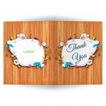 Funky Floral And Faux Wood Blank Thank You Card