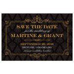 Save the Date Postcard - Elegant Gold Frame Black Damask