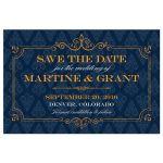 Save the Date Postcard - Elegant Orange Frame Blue Damask