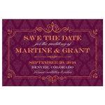 Save the Date Postcard - Elegant Orange Frame Plum Damask