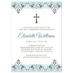 Elegant First Holy Communion invitation for girls with pale blue and brown lace damask borders and cross