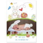 Adorable Bunny With Colorful Eggs Easter Photo Card