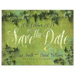 Save the Date Green Art Grunge Ivy Postcard
