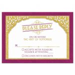 Merlot and gold vintage typography art deco inspired wedding RSVP reply card front