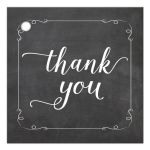 Trendy White Chalkboard Typography Thank You Gift Tag