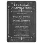 Trendy White Chalkboard Typography Wedding Invitation