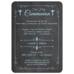 Trendy Blue Chalkboard First Holy Communion Invitation