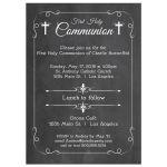 Trendy White Chalkboard First Holy Communion Invitation