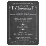Trendy White Chalkboard First Holy Communion Invitation